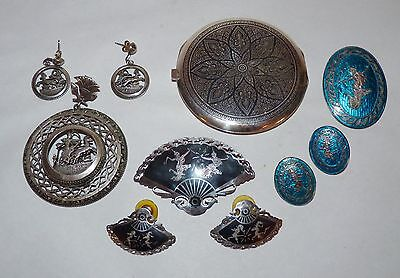 Niello, Siam Sterling Silver 2 Brooch & Earring Sets, Egyptian Pendant, Compact.