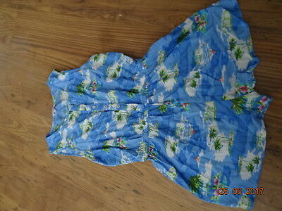 GIRLS BLUE SLEEVELESS PLAYSUIT WITH PALM TREE DESIGN age 13 years IN VGC