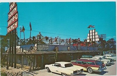 Fort Myers FL Postcard Old South Bar-B-Q Ranch Drive-In Restaurant Cars T-Bird 1