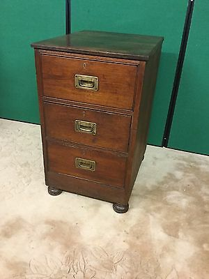 Antique Oak Narrow Chest Of Drawers With Campaign Style Brass Handles