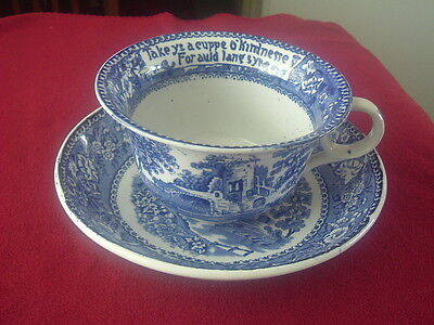 Royal Staffordshire Burslem Auld Lang Syne outsized Blue and White Cup & Suacer