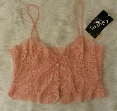 NWT *GLYDONS* Vintage Pink Lace Sheer Camisole Lingerie Size L