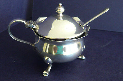 Solid Silver Mustard Pot & Liner by Adie Brothers 1957 Birmingham + 1931 Spoon