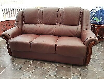 3 Piece Suite In Brown Leather