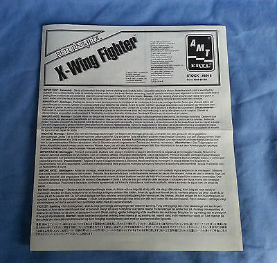Star Wars :- Return of The Jedi X-Wing Fighter #8918 Instruction Sheet - 1990's