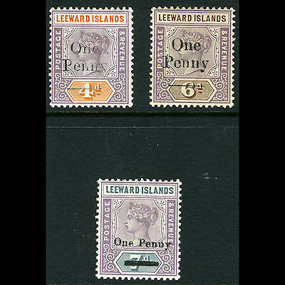 LEEWARD ISLANDS 1902 Surcharge Set. SG 17-19. Lightly Hinged Mint. (AM267)