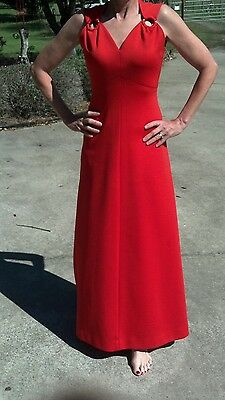 Vintage 1960's Bleeker Street Formal Maxi Long Red Dress Size 8