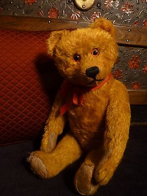 Antique Schuco Yes No German Gold Mohair Teddy Bear  Excelsior 1920s Straw