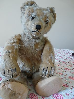 Rare German Schuco Tricky 'Yes No' mohair bear, glass eyes. Needs loving/TLC...!