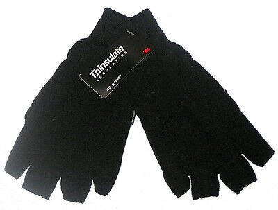 Brand New Mens Thinsulate Insulation Black Polar Fleece Fingerless Gloves
