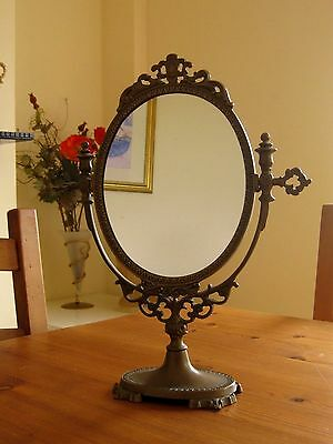 Vintage/Antique Solid Brass French Style Oval Dressing Table Swing/ tilt Mirror