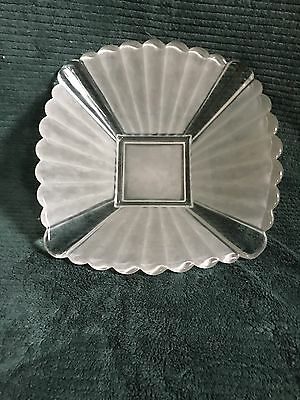 """12"""" clear glass frosted panel square salad fruit bowl"""