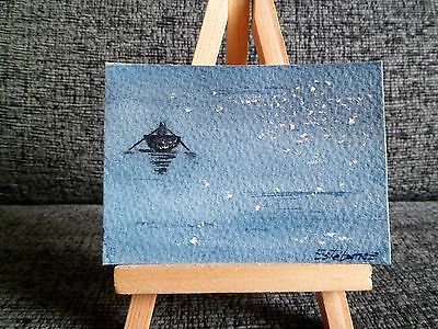 ACEO Original watercolor Painting Boat
