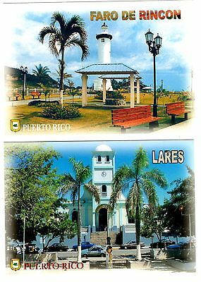 2 new postcards from PUERTO RICO - Rincon - Lares - Lighthouse