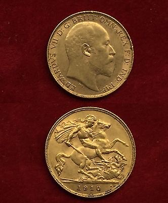 1910 Edward VII Gold Half Sovereign Coin In Great Condition
