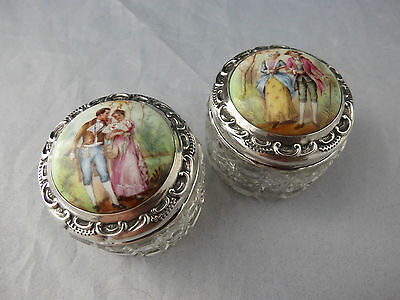 Rare Pair Of Silver And Enamel Lidded Hobnail Cut Glass Pill Trinket Pots 1904