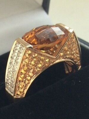 14ct gold oval citrine, diamond and yellow sapphire ring size N1/2