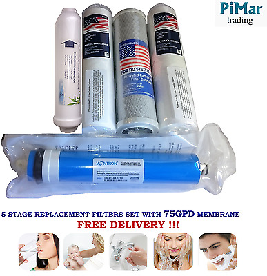 Complete Water Filters Set with 75GPD Membrane for 5 Stage RO System