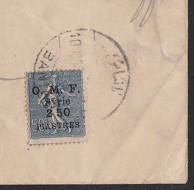 Syria Syrie BANIAS Cover 1923 France stamp 50c O.M.F. 2.5 Piaster Levant