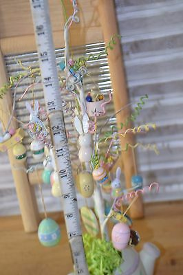 """Easter Tree  Vintage 18"""" Wooden Ornaments Hand Painted Wire Branches in BOX"""