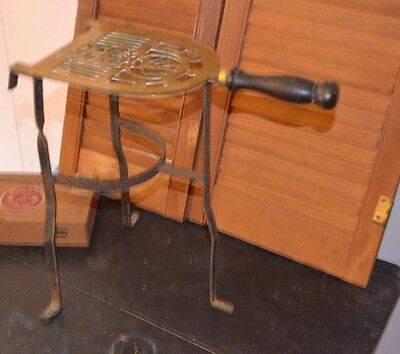 Vintage Iron Brass Fireplace Kettle Trivet Pot Rest Warming Stand