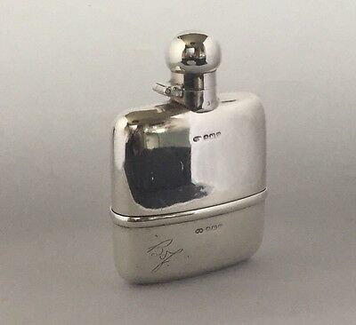 George V Sterling Silver Hip Flask, Birmingham 1920, Hubert Hall