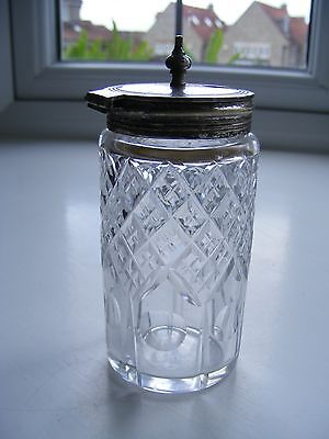 Vintage Cut Glass Mustard Pot with Silver Plated Lid