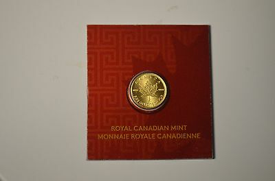 1 Gram Gold Canadian Maple Leaf Coin .9999 on Red Pocket