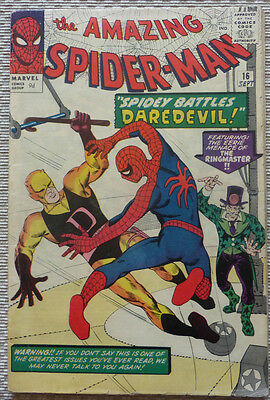 SPIDERMAN #16, SILVER AGE CLASSIC WITH 1st. DAREDEVIL CROSSOVER!!!
