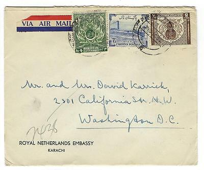 "Circa 1955 Pakistan To USA Airmail Cover ""Royal Netherlands Embassy"" (NN68)"