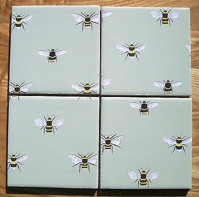 Gorgeous Sophie Allport Set Of 4 Ceramic Coasters New 'bumble Bees' Handmade