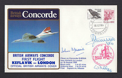 Ba Concorde Flown First Flight Crew Signed Cover Keflavik - London
