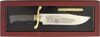 Texas Alamo Bowie Knife Remember Alamo Artwork Display Case Brass Shield