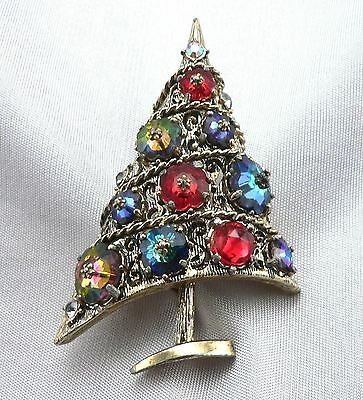Vintage Signed WEISS Figural CHRISTMAS TREE Rhinestone PIN Brooch Glass Jewels