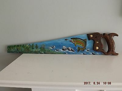 Antique Hand Saw  Hand Painted Fishing, Signed