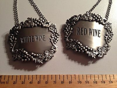 Red Wine and White wine metal decanter labels