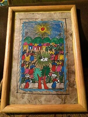 Vintage Nativity Scene Amate Bark Paper Painting Picture Mexican Folk Art