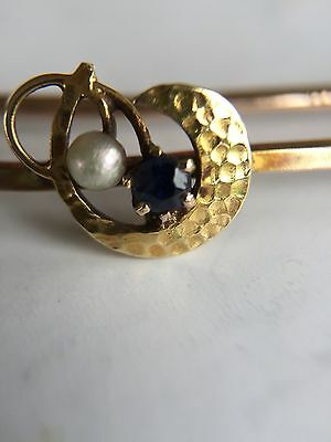 pin brooch vintage seed pearl and sapphire hallmarked 9 carat gold