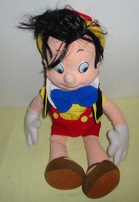 1992 Mattel Disney Pinocchio Plush Stuffed Boy Figure Red Black Clothes Yellow