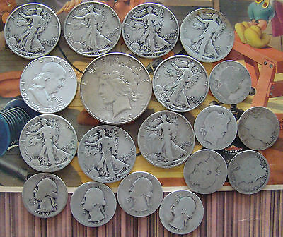 US silver 90% Walking Lib/Franklin half/quarter$ 1923s Peace Dollar