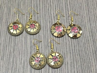 WHOLESALE LOT 3 pcs RED CORAL STONE.925 TIBETAN SOLID BRASS EARRING 35 GMS