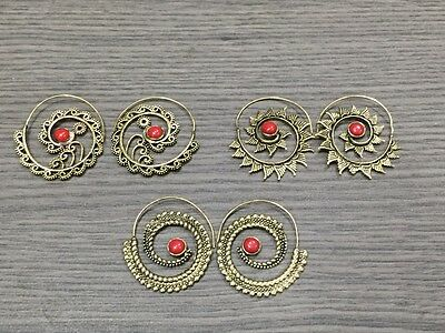 WHOLESALE LOT 3 pcs RED CORAL STONE.925 SOLID BRASS DESIGNER EARRING 44 GMS