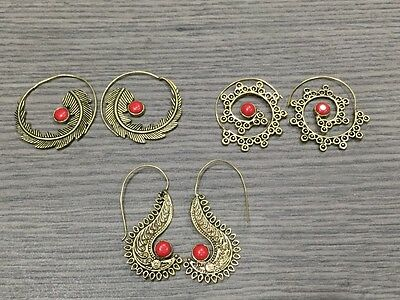 WHOLESALE LOT 3 pcs RED CORAL STONE.925 SOLID BRASS DESIGNER EARRING 37 GMS
