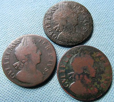 Lot of 3 1699 1700 King William III British Us Colonial Era Halfpenny Coppers
