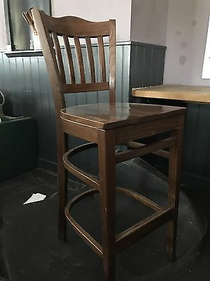 Solid Heavy Wooden Bar Stools (4 Large Stools Available)
