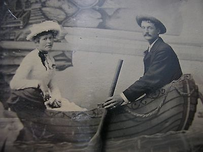 Tintype photo - Victorian - Man and woman in rowing boat