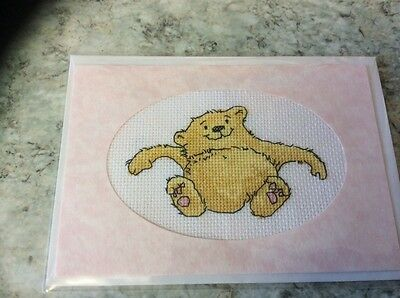 New Bear completed cross stitch card