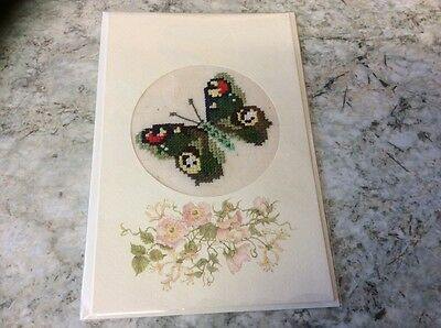 New Butterfly completed cross stitch card