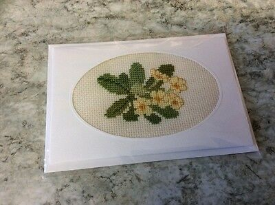 New Flower Completed cross stitch card