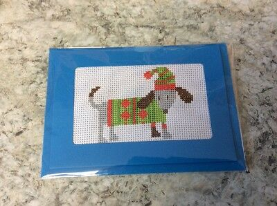 New Dog completed cross stitch card